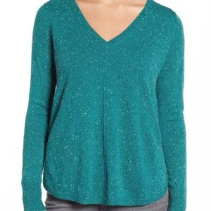 CASLON high-low textured v neck sweater AV8